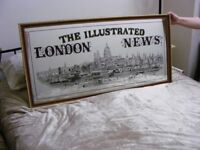 VINTAGE LARGE MIRROR 'ILLUSTRATED LONDON NEWS' - COLLECTION ONLY FROM HUDDERSFIELD AREA