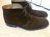 Luxurious Salvatore Ferragamo mens brown suede smart boots/shoes, 43.5/uk9.5, RRP $520