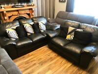 3+2 Seater leather sofa (black)