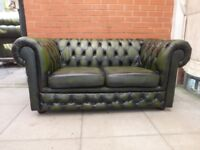 A Green Leather Chesterfield Two Seater Sofa