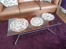 Retro Vintage 60s 70s Abstract Leaf Pattern Tile Top Coffee Table Mid Century