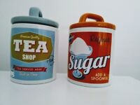 Retro Cream Ceramic Tea + Sugar Canister Kitchen Storage Jar Set 2
