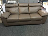 ScS New/Ex Display Brown Leather 3 Seater Sofa