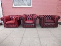 Three Oxblood Red Leather Chesterfield Club/Armchairs