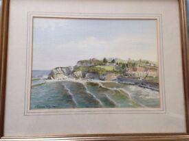 Original Watercolour Painting (1984) of Lee Bay, Devon by Grahame Penn. Framed.