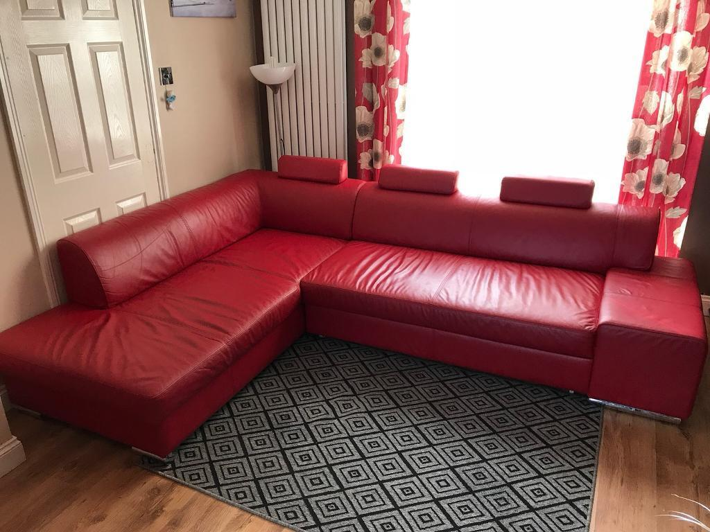 Genuine leather corner sofa bed   in Corby ...