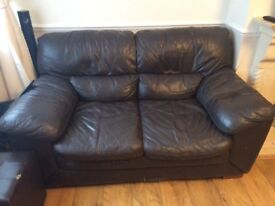 Settee brown leather, 2 seater.