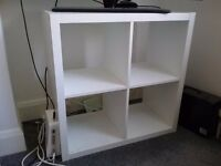 White Ikea Bookcase Shelving Unit , Desk, Samsung TV, Wood Chest, Table Lamp, White Ikea Bed Frame