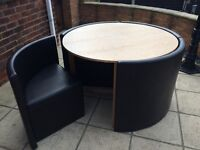 Hideaway round table and chair set