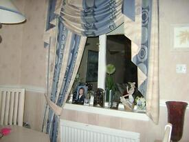 Professional made Curtains, Pelmet Swag & Tails
