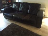 Contemporary brown leather Sofa plus Chairs