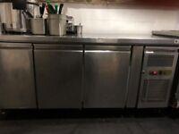 Polar 3 door bench fridge