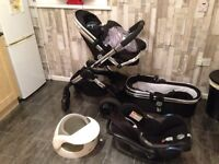 Black & silver i candy pram and complete travel system