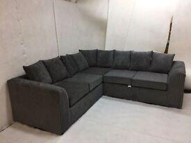 New Jamba Jumbo Cord Corner Sofa dual arm in grey colour