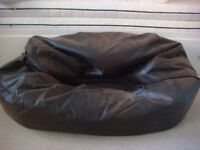 Brown Leather Bean Bag - great condition