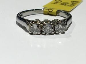 #1491 18K BEAUTIFUL TRINITY RING WITH EUROPEAN CUT DIAMONDS *SIZE 5 1/4* JUST BACK FROM APPRAISAL AT $3150.00