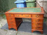 Antique reproduction yew wood pedestal desk 54ins wide (137cm)