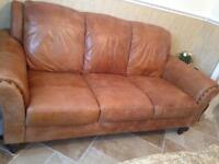 Superior distressed tan brown genuine leather chesterfield 3 seater sofa