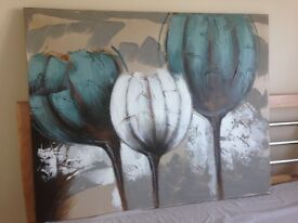 Teal and Brown Wall Canvas