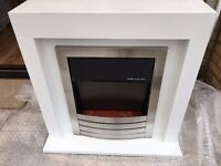White modern electric fireplace & surround