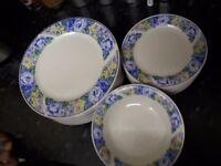 24 piece blue & white dinner set