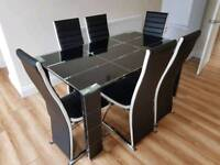 Black Dining table with 6 chairs