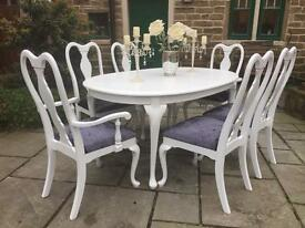 Vintage Extending Dining Table & 4 Grey Shabby Chic Chairs