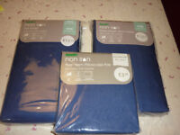 2 Dark Blue unused Dunelm Kings Size sheets (1 fitted) & Pair of Pillow cases - in original packing