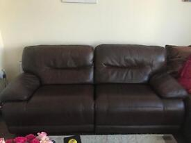 Large leather double reclining sofa