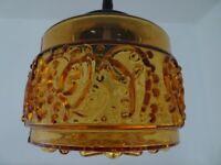 Swedish mid century design vintage orange glass ceiling lamp