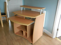 Moveable Beech effect Computer Desk