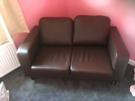 BROWN FAUX LEATHER 2 SEATER SOFA ONLY 1 MONTH OLD AS NEW
