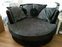 DFS Large Snuggle Swivel Chair/Sofa 130cm