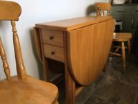 Solid Oak Drop Leaf Table & Two Chairs