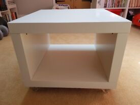 Ikea Lack side table on casters - white