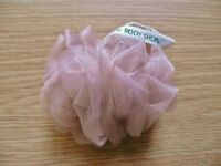 The Body Shop Beige Bath Shower Lily Scrunchie Puff Sponge Exfoliator