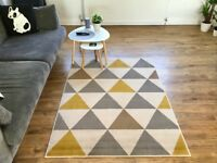 Modern Rug 120cm x 170cm Living Room Kitchen Grey White Yellow Brown