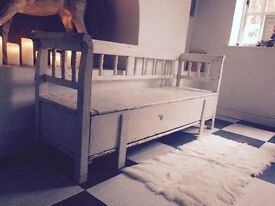 Beautiful old bench also converts to a bed