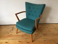 Vintage E Gomme G Plan Mid Century Small Armchair Original Turquoise Fabric