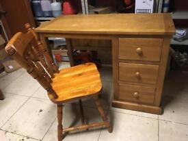 Solid pine desk / dresser with chair