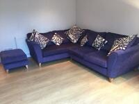 DFS Corner Sofa, matching Footstool and single accent Armchair
