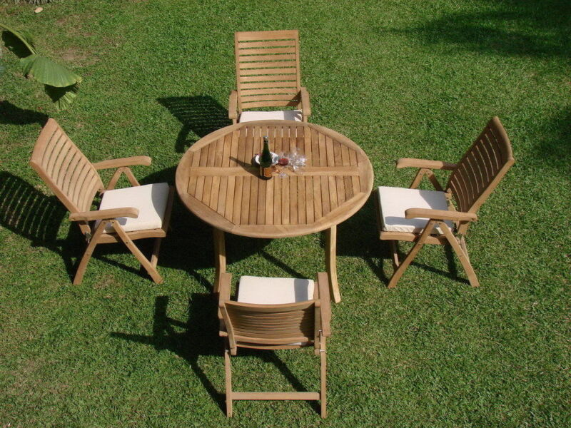 """5-piece Outdoor Teak Dining Set: 52"""" Round Table, 2 Reclining Arm Chairs Ash"""