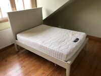 Off-White Double bed frame and mattress. Large headboard. IKEA HEREFOSS