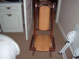 Old Folding Wooden Chair with ornate Back and Rush seat & Back