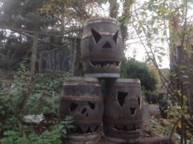 Halloween faced barrels