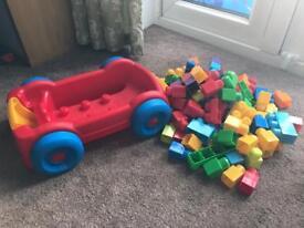 Mega Bloks blocks & pull along cart