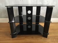 Black glass & chrome TV stand with shelves perfect condition