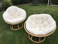 2 bamboo conservatory chairs will need washing but no rips or tears very comfortable