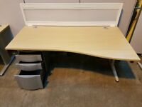 180cm Light Oak Wave Modern Office Desk - 40 Available
