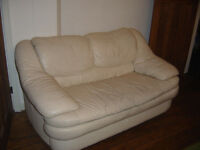 cream leather 2 seater sofa used in leicester